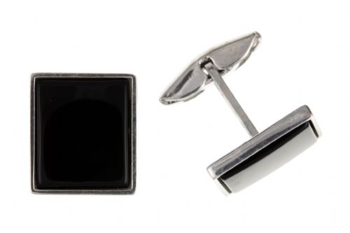 Square Onyx Sterling Silver Cufflinks
